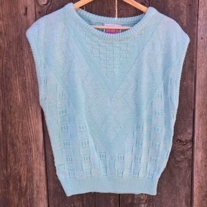 VTG Picture Perfect Mint Green 80's Sweater Vest